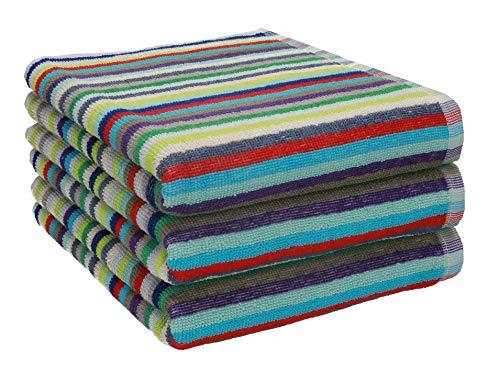Betz 3 Stück Handtücher Set Grubentuch Arbeitshandtuch Küchentuch Handtuch Helgoland Größe 50 x 90 cm 100% Baumwolle, bunt gestreift