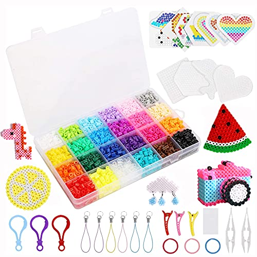 Juego de 2400 cuentas para planchar con cuentas para planchar, accesorios y cuentas en caja organizadora, regalo de cumpleaños para niños (5 mm, 24 colores)
