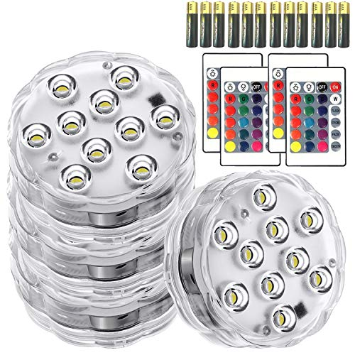 Underwater Light, Multi-Coloured RGB Waterproof LED Lights with IR Remote Control for Vase, Base, Party, Swimming Pool, Christmas, 4 PACK(Includes 12 AAA Batteries)