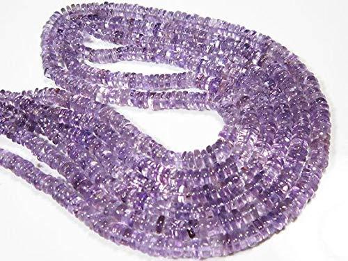 World Wide Gems Cuentas de piedras preciosas amatistas Liso Heishi - 4,5 cm de largo Strand-Stone Medidas -4,50 mm Code-HIGH-7495