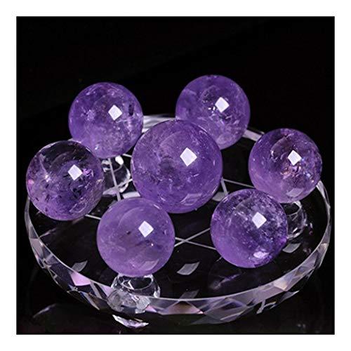 Bola de cristal natural de 7 estrellas con diseño de matriz de amatista, para oficina, bola de Feng Shui, adorno de regalo (tamaño : 15 cm)