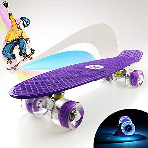 Ceepko Komplett mini cruiser-skateboard för barn, 50 cm med LED,-lätta hjul, för vuxna barn, nybörjare, flickor, pojkar Lila