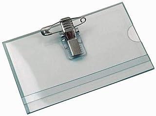 50x Namensschilder 58 x 90 mm PVC Clip-Nadel-Kombination mit Karton Schilder