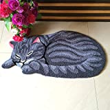 Abreeze Modern Grey Rugs for Kids Play Cute Sleeping Cat Shaped Anti-Slip Foor Mat, 34''x18'', Grey