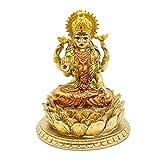 Hindu Goddess Laxmi Lotus Sculpture – Indian God Lord Lakshmi Puja Statue - India Murti Idol Figurine Pooja Item Diwali Gifts