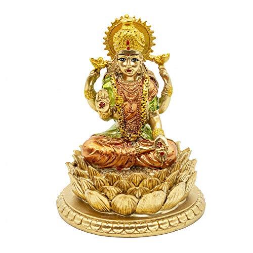Hindu-Göttin Laxmi Lotus-Skulptur - Indischer Gott Lord Lakshmi Puja Statue - Indien Murti Idol Figur Pooja Artikel Diwali Geschenke