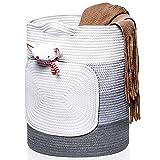 Iycnkok Cesto de Cuerda de Algodón 40 x 50 cm/ 63L Cesta Ropa Sucia Grandes Almacenaje Decorativas, Diseño de Bolsillo, para Ropa, Estera de Yoga, Juguetes, Mantas