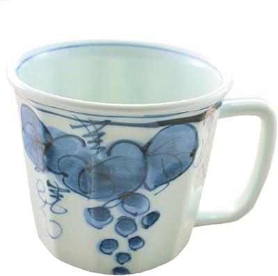 マグカップ 有田焼 波佐見焼 ぶどう面取軽々マグ(青) 軽量 持ちやすい 葡萄 和食器 陶器 三階菱