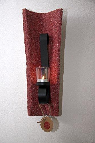 Jovalove Kerzenhalter antiker Dachziegel rot mit Glas für Teelicht