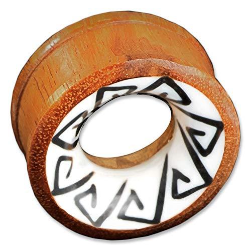 viva-adorno 1 stuk Flesh Tunnel Plug van Hout Tribal Inlay Oor Piercing Verschillende Ontwerpen 6-30mm Z15 - Ontwerp C