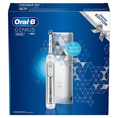 Oral-B Genius 8500 Design Edition Elektrische Zahnbürste/Electric Toothbrush mit Positionserkennung & Smart-Coaching App, 5 Putzprogramme, Smartphone-Halterung & Reiseetui, silber