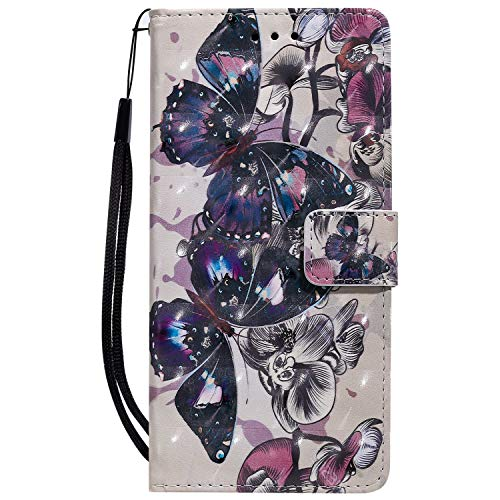 Sunrive Hülle Für Lenovo Moto G4 Play, Magnetisch Schaltfläche Ledertasche Schutzhülle Etui Leder Hülle Cover Handyhülle Tasche Schalen Lederhülle MEHRWEG(W16 Schmetterling 3)