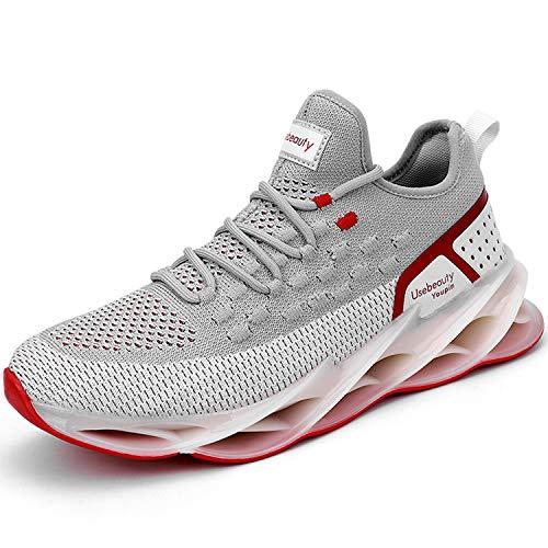 KAWAI Zapatos para Correr Cómoda Sneakers Zapatillas Running Hombre Antideslizantes Ligeras Zapatos para Correr Asfalto Aire Libre y Deportes RT1901/Gray Red 46
