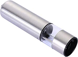 Stainless Steel Electric Salt Pepper Grinder Battery Operated with LED Light At Bottom and Adjustable Grinder Mills Table ...