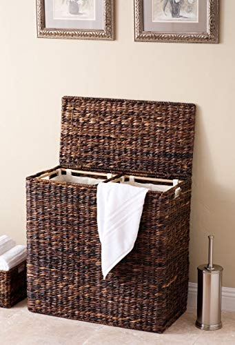BirdRock Home Oversized Divided Hamper with Liners and Lid (Espresso) - Handwoven Natural Woven Abaca Fiber - Organize Laundry Storage - Easy Transport - Extra Large Double Basket - Includes 2 Machine Washable Canvas Liners