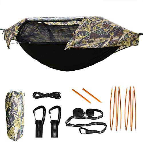 TianYaOutDoor Camping Hammock with Mosquito Net and Rainfly Lightweight Portable Sleeping Hammock Tent Backpacker Travel Outdoor Gear (Camouflage)