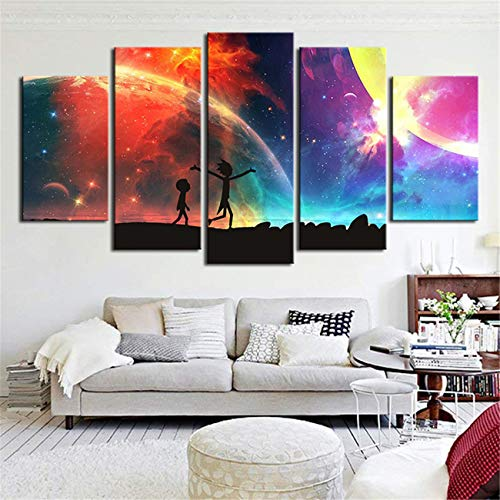 JESC 5 Panels Canvas Painting Rainbow Poster Wall Art Painting Modern Home Decor Picture for Living Room Framework Ready to Hang (with Frame, 30x50cmx2,30x70cmx2,30x80cmx1)
