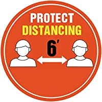 Protect Distancing Floor Sign Keep Distanceステッカー 6フィート間隔線とチェックアウトエリア フロアサイン 距離維持ステッカー 温度 滑り止め 取り外し可能 圧力感 ビニール