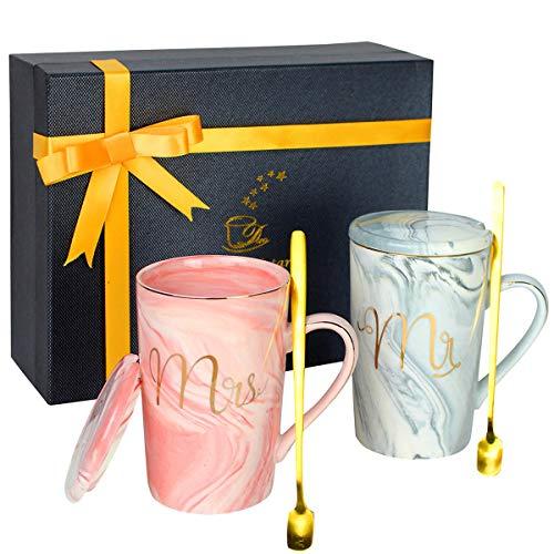 Jinsha Tassen Set - Mr Und Mrs Kaffeetassen 6 Pcs Exquisite Geschenkver Packung Becher Set Geschenk zum Valentinstag Hochzeits Verlobungs Geburtstag (420 ML)