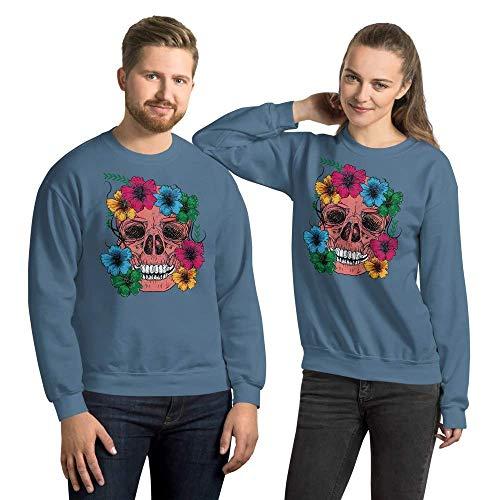 Rockabella Flower Skull, Sudadera Unisex, Sweatshirt, S - 5XL, 10 Colores Diferentes Indigoblau 2XL