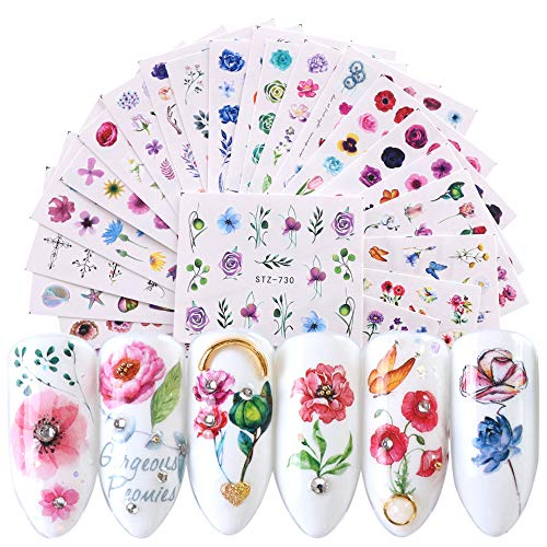 Macute Nail Water Decals Nail Art Stickers for Women 24 Sheets Assorted Flower Rose Patterns for Fingernails and Toenails Decorations Manicure Tip Charms Accessories DIY Nail Art Designs