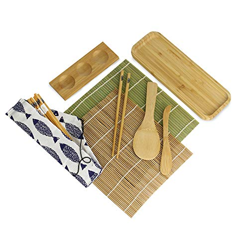 """Kit de sushi de bambú   Set de 11 piezas para hacer sushi   2 colchonetas   5 pares de palillos   Bandeja de servicio de 10 """"  Plato de salsa   Paleta y Esparcidor   M&W"""