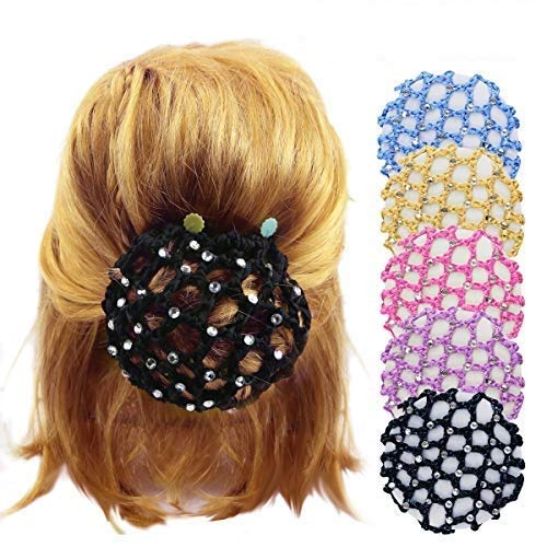 DLOnline 5PCS Glittering diamonds Bun Cover Snood Women Girl Rhinestone Bun Cover Crochet Snood Hair Net For Ballet Dance Skating,Bun Cover Snood Hair Net Ballet Dance Skating Chic Crochet With Pearl