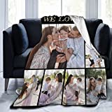 Personalized Custom Flannel Blanket With Picture Text, Customized Blankets Using Photos Of Family, Friends, Dog, Cat Or Pet, Fits Couch Bedroom Beddings Living Room Sofa - 50x40 Inches 7 Photo Collage