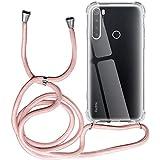 Funda para Xiaomi Redmi Note 8, Transparente Silicona Carcasa con Cuerda para Redmi Note 8, Rosyheart Suave TPU Case con Cuerda para Colgar Ajustable Anti Golpes Protector Case (Oro Rosa)