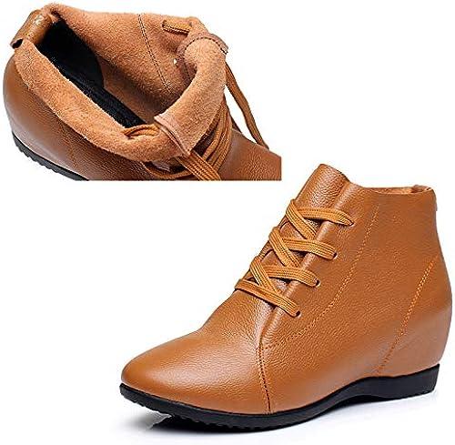HOESCZS Bottes Martin Augmentation Des Chaussures Pour Femmes En Cuir Bottes Courtes En Dentelle Décontractée Quatre Saisons Plates Simples Bottes Plus Coton Femmes Bottes Grande Taille Chaussures Pour Femmes