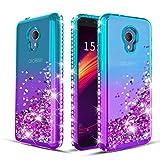 Wallme Alcatel TCL LX A502DL Case,Alcatel 1X Evolve/Alcatel IdealXtra 5059R/Alcatel Avalon V Phone Case 5.34' Bling Bling Glitter Diamond Cute Hearts Flowing Sparkle Cover for Girls/Women-Teal/Purple