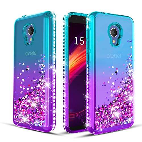 Wallme Alcatel TCL LX A502DL Case,Alcatel 1X Evolve/Alcatel IdealXtra 5059R/Alcatel Avalon V Phone Case, Glitter Diamond Sparkle Bling Bling Protective Cover for Girls/Women-Teal/Purple