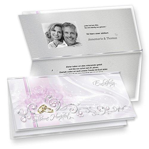 Feine Einladungskarten Silberne Hochzeit 20 Sets - fein abgestimmte Einladungskarten in Silberoptik