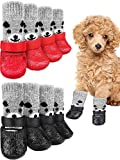 8 Pieces Dog Socks Non Slip with Straps Rubber Sole Non Slip Grippers Paw Protectors Outdoor Waterproof Dog Socks Boots Hardwood Floors Paw Protectors for Small Medium Dogs Cats (Bear, Small)