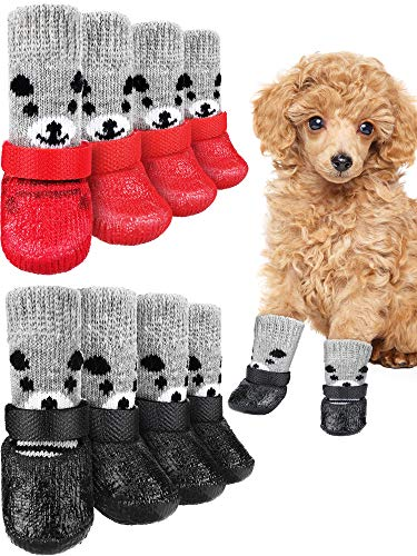 8 Pieces Dog Socks Non Slip with Straps Rubber Sole Non Slip Grippers Paw Protectors Outdoor Waterproof Dog Socks Boots Hardwood Floors Paw Protectors for Small Medium Dogs Cats (Bear, Large)