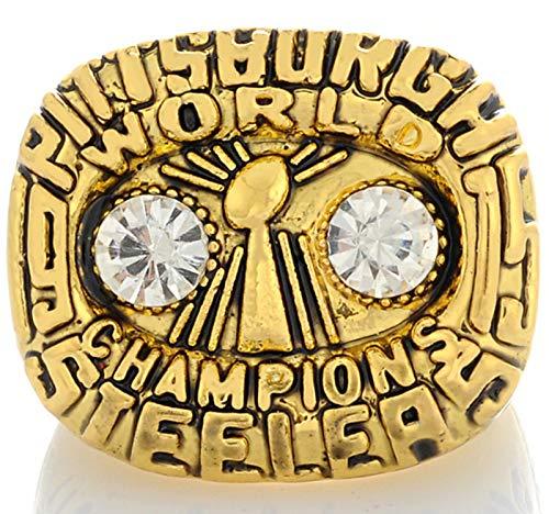 NMABY Pittsburgh 1975 Anillo de Campeonato de fútbol Americano, Rugby Souvenirs Anillos Regalos con Caja Ring