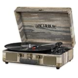Victrola Vintage 3-Speed Bluetooth Portable Suitcase Record Player with Built-in Speakers | Upgraded Turntable Audio Sound| Includes Extra Stylus | Farmhouse (VSC-550BT-FSG)