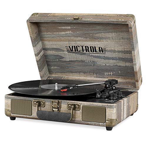 Victrola Bluetooth Suitcase Record Player with 3-Speed Turntable, Farmhouse Shiplap Grey