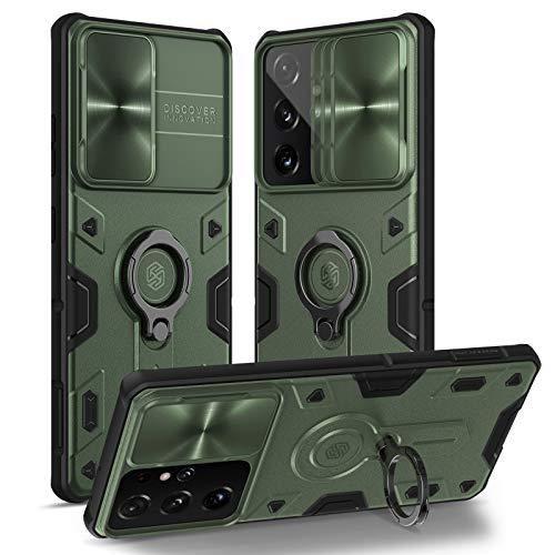 Nillkin kompatibel mit Samsung Galaxy s21 Ultra hülle mit ständer, s21 Ultra 5g hülle Bumper Hybrid Handyhülle für S21 Ultra Rutsche fähig kameraschutz hülle 6.8'' (Green)