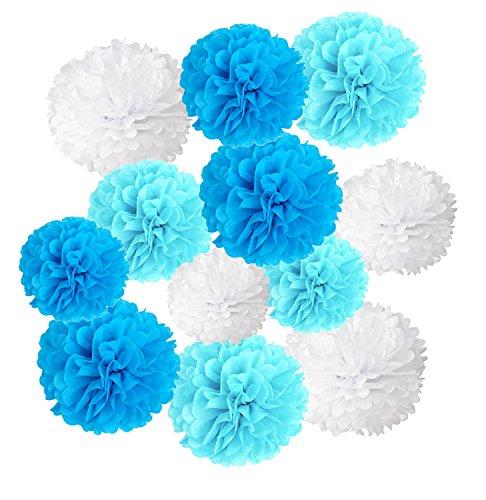 Wartoon Pom Poms di Carta Velina Decorativo Palla Fiore, 12 Pezzi palle di carta appendere per il Compleanno Decorazione Della Festa Nuziale (Blu1)