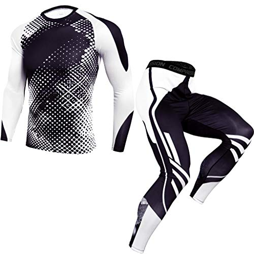 KPILP Herren 2pcs Fitness Bekleidungsset Sportbekleidung Langarmshirt Leggings Jogginghose Slim Trainingshose Atmungsaktiv Winter Funktions Sportwear Anzug Gym Yoga