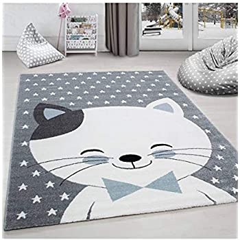 Paco Home Tapis pour Enfants Motif /Étoiles Poils Ras Contours D/écoup/és Carreaux Design Gris Noir Dimension:120x170 cm