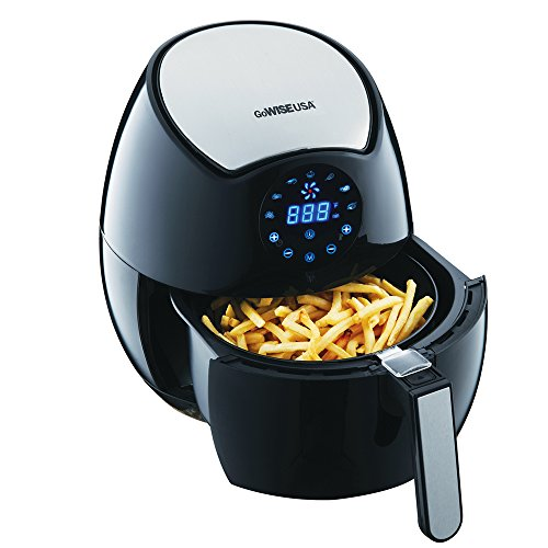 GoWISE USA Electric Air Fryer w/ Touch Screen Technology, Button Guard & Detachable Basket - Black 3.7 QT, 1400W