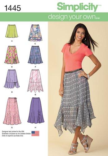 Simplicity Design Your Own Pattern 1445 Damenrock mit Längenvarianten, Größen 46-50-52-54