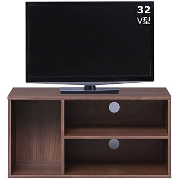 【26-32型推奨】アイリスオーヤマ テレビ台 テレビボード ローボード 幅約73.2cm 奥行29.8cm 高さ36.3cm 24型 32型 ウォールナットブラウン 収納 カラーボックス オープン 組み立て 耐荷重20kg MDB-3S
