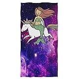 Bert-Collins Towel Unicornio Hand Toallas Sirenita con Unicorn Galaxy Toalla de baño Ultra Suave