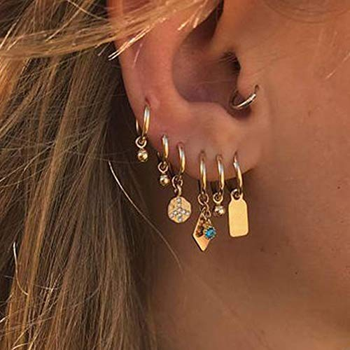 Juego de aretes de Rayos de Oro Vintage para Mujer Pendiente de Cristal de Mariposa con Estrella de círculo geométrico, EA-0306-14