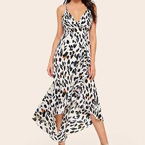 Mdndfhfddfg Estampado de Leopardo Vestido de Cabestro Rodilla-Longitud Vestido de Swallowtail (Color : As...