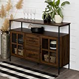 Walker Edison Furniture AZU48RAD3DDW Industrial 3-Door Buffet Sideboard for Kitchen Dining Room, 48, Dark Walnut