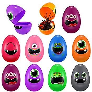 24 Pieces Halloween Plastic Eggs with Grimace Printed Colors Giant Eggs with 3.14 Inches Tall Egg Containers for Halloween Party Favors Filling Treats Halloween Favors Classroom Rewards Supplies